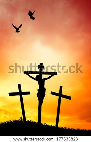 illustration of a man praying under the cross - stock photo