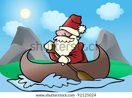 illustration of a man Rafting on a river wearing santa cloth - stock photo