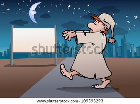 illustration of a man wear pajamas sleep walker in night on city background - stock photo