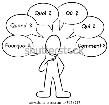 illustration of a man who asks questions french: pourqoi = why, quand = when, quoi = what, o�¹ = were, qui= who, comment = how - stock photo