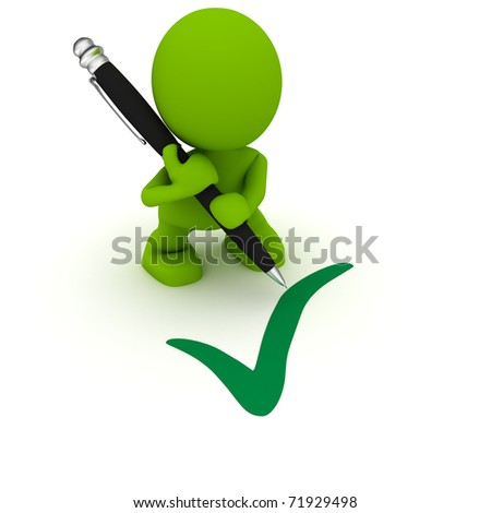 Illustration of a man with a large pen drawing a checkmark.  Part of my cute green man series. - stock photo