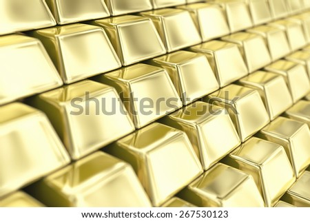 Illustration of a many ingots of fine gold - stock photo