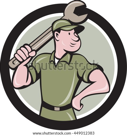 Illustration of a mechanic wielding holding spanner wrench looking to the side viewed from front set inside circle on isolated background done in cartoon style.  - stock photo