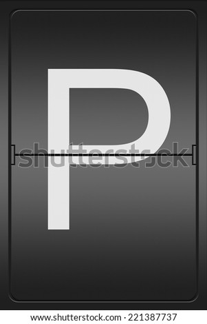 Illustration of a mechanical leter indicator showing the letter P - stock photo