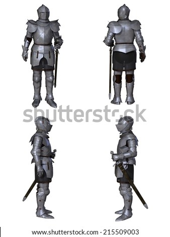Illustration of a Medieval knight wearing 15th century Milanese armour, set of four character views, 3d digitally rendered illustration - stock photo