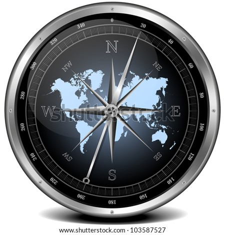 illustration of a metal framed compass with blue color scheme - stock photo