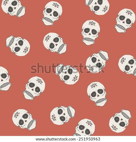 Illustration of a mexican skull, Day of the dead sugar skull pattern. - stock photo