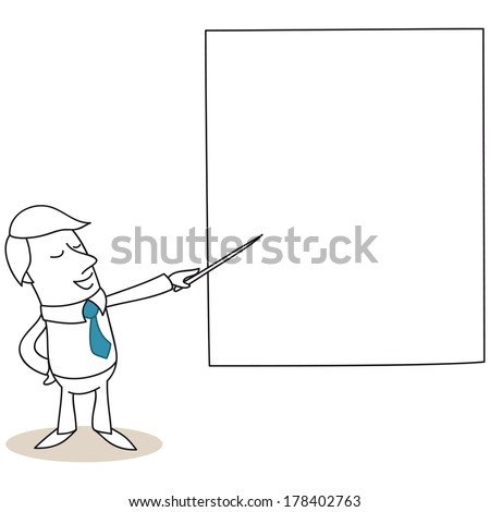 Illustration of a monochrome cartoon character: Businessman talking and pointing at big screen with a stick. - stock photo