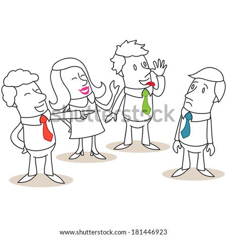 Illustration of a monochrome cartoon character: Group of business people mocking and bullying colleague. - stock photo