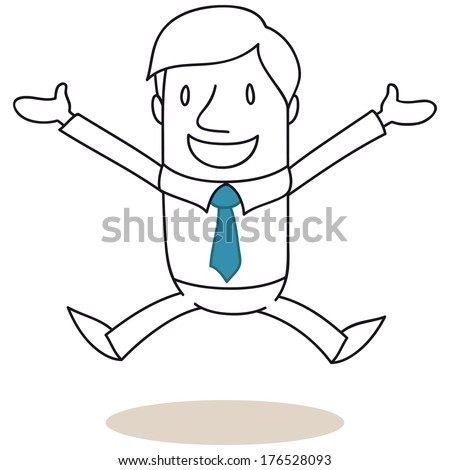 Illustration of a monochrome cartoon character: Smiling businessman jumping with open arms (vector also available). - stock photo