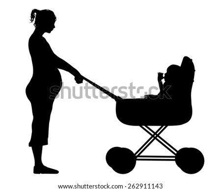 Illustration of a mother pushing her child in a pram - stock photo