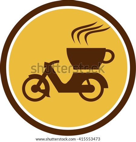Illustration of a motorcycle motorbike scooter with cup coffee delivery viewed from the side set inside circle done in retro style.  - stock photo