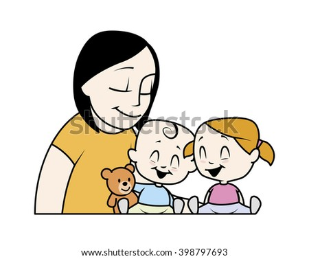 Illustration of a mum playing with her sons - stock photo
