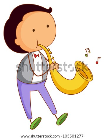 Illustration of a musical boy - EPS VECTOR format also available in my portfolio. - stock photo