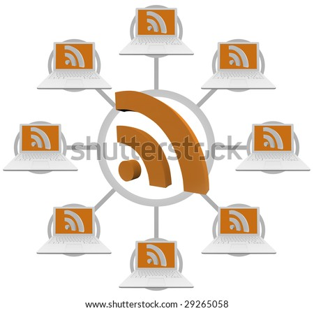 Illustration of a network of computers linked through RSS syndication - stock photo