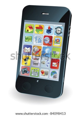 Illustration of a new smart mobile phone - stock photo