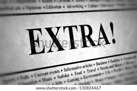 Illustration of a newspaper with the title EXTRA! - stock photo