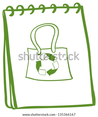 Illustration of a notebook with a drawing of a recycled bag on a white background - stock photo