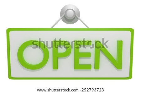 Illustration of a open sign with green text - stock photo