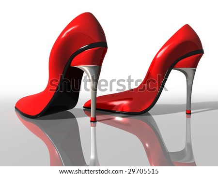 Illustration of a pair of elegant red high heel shoes - stock photo