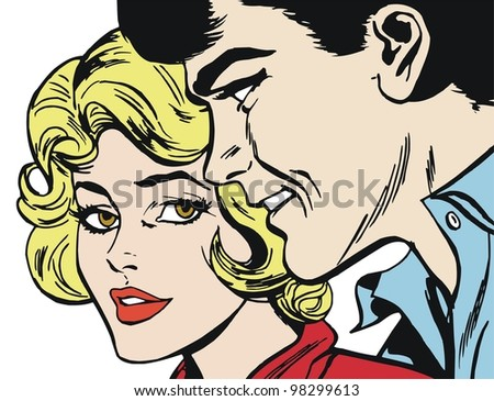 Illustration of a pair of lovers drawn in comic style - stock photo