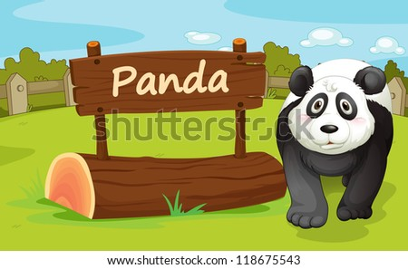 illustration of a panda in a beautiful nature - stock photo