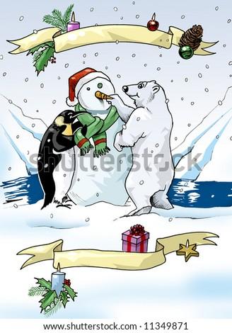 Illustration of a penguin and a polar bear building a snowman - stock photo