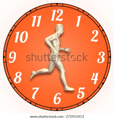 Illustration of a person running on a clock face - stock photo