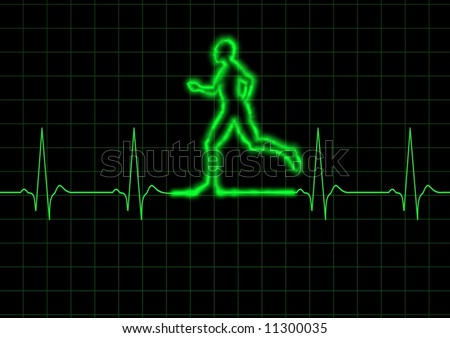 Illustration of a person running on a heart monitor - stock photo