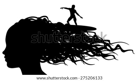 Illustration of a person surfing on the waves of a woman's hair - stock photo