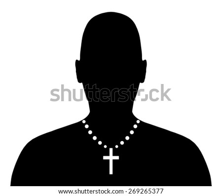 Illustration of a person wearing a crucifix necklace - stock photo