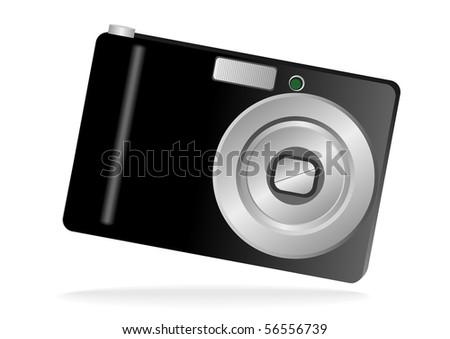 Illustration of a photo camera isolated on white - stock photo