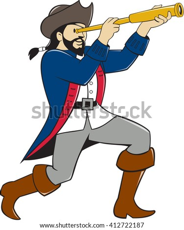 Illustration of a pirate standing looking into spyglass viewed from the side set on isolated white background done in cartoon style.  - stock photo