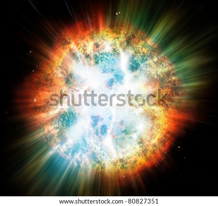 Illustration of a planet or star explosion. - stock photo