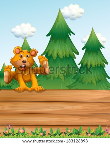 Illustration of a playful bear above the signboard near the pine trees - stock photo