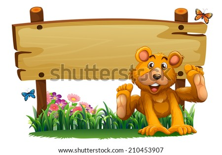 Illustration of a playful bear near the empty wooden signboard on a white background - stock photo