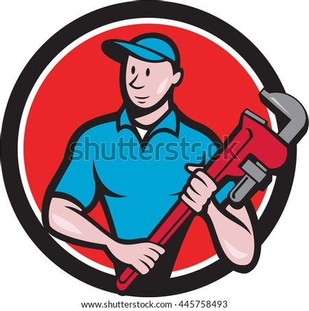 Illustration of a plumber in overalls and hat standing looking to the side holding monkey wrench viewed from front set inside circle on isolated background done in cartoon style. - stock photo