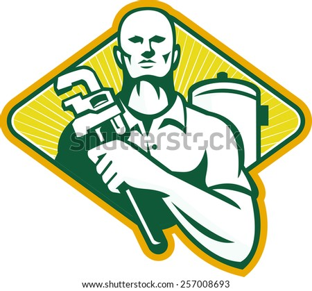 Illustration of a plumber with adjustable monkey wrench and hot water cylinder system set inside diamond shape done in retro style. - stock photo
