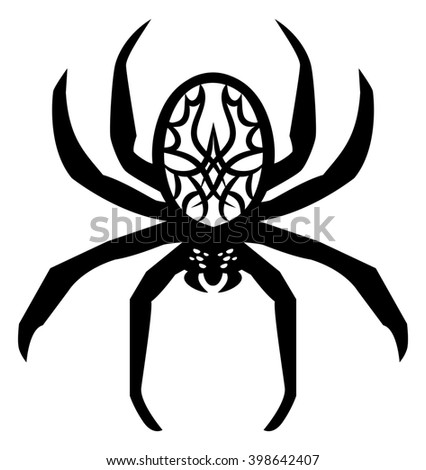 illustration of a poisonous spider tattoo on isolated white background - stock photo