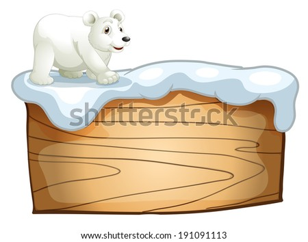 Illustration of a polar bear above the empty wooden signboard on a white background - stock photo