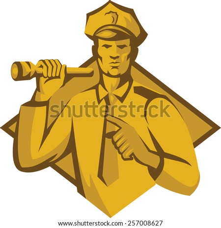 Illustration of a policeman police officer holding a flashlight torch pointing facing front set inside diamond shape done in retro style. - stock photo