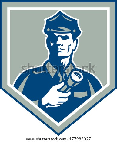 Illustration of a policeman security guard police officer holding flashlight torch set inside shield crest on isolated background done in retro style. - stock photo