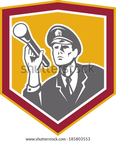 Illustration of a policeman security guard police officer with flashlight torch set inside shield crest done in retro style on isolated background. - stock photo