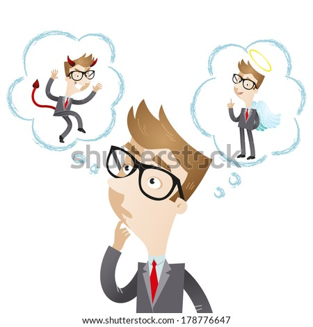 Illustration of a pondering cartoon businessman with thought bubbles showing devil and angel. - stock photo