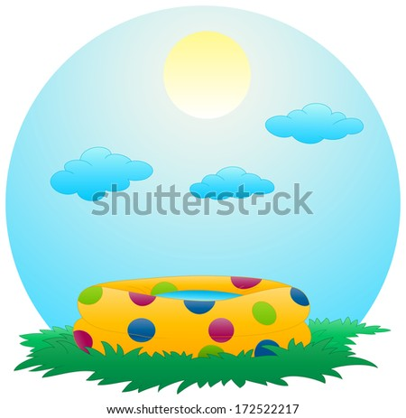 illustration of a portable float pool nature background - stock photo