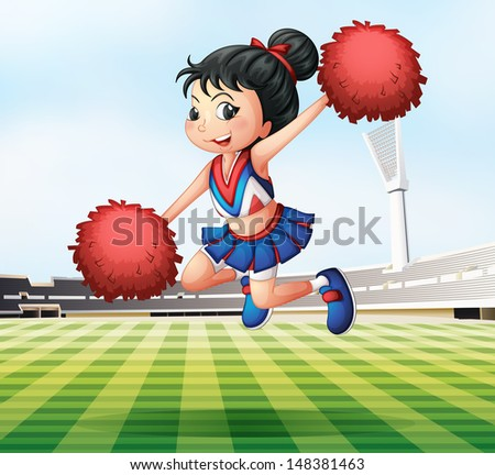 Illustration of a pretty and energetic cheerdancer - stock photo
