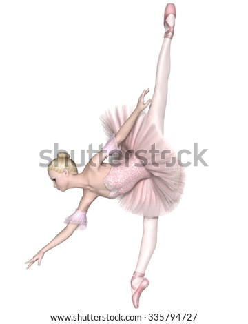 Illustration of a pretty blonde ballerina in a classical pink tutu performing an arabesque penche, 3d digitally rendered illustration - stock photo