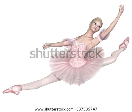 Illustration of a pretty blonde ballerina in a classical pink tutu performing an grand jete, 3d digitally rendered illustration - stock photo