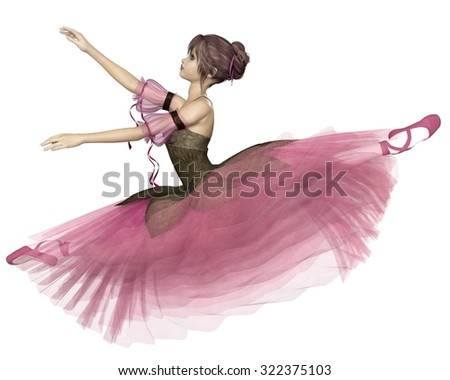 Illustration of a pretty dark-haired young ballerina wearing a long romantic style pink flower tutu leaping through the air in a grand jete, 3d digitally rendered illustration - stock photo