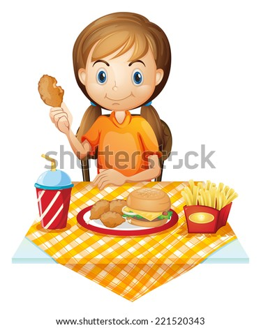 Illustration of a pretty girl eating at the fastfood restaurant on a white background - stock photo